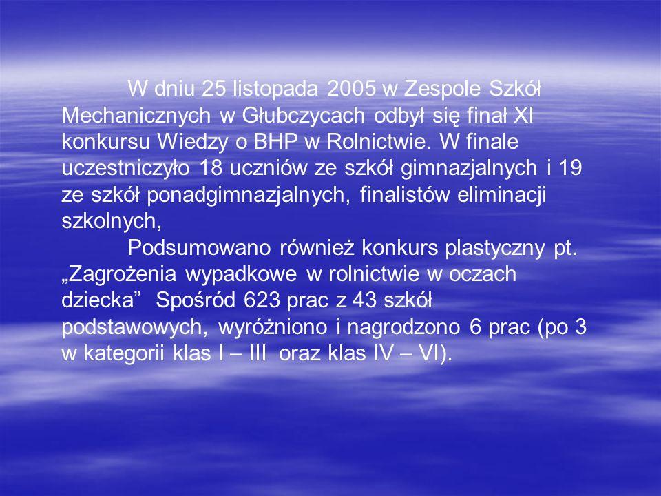 W dniu 25 listopada 2005 w Zespole Szkół Mechanicznych w Głubczycach odbył się finał XI konkursu Wiedzy o BHP w Rolnictwie. W finale uczestniczyło 18