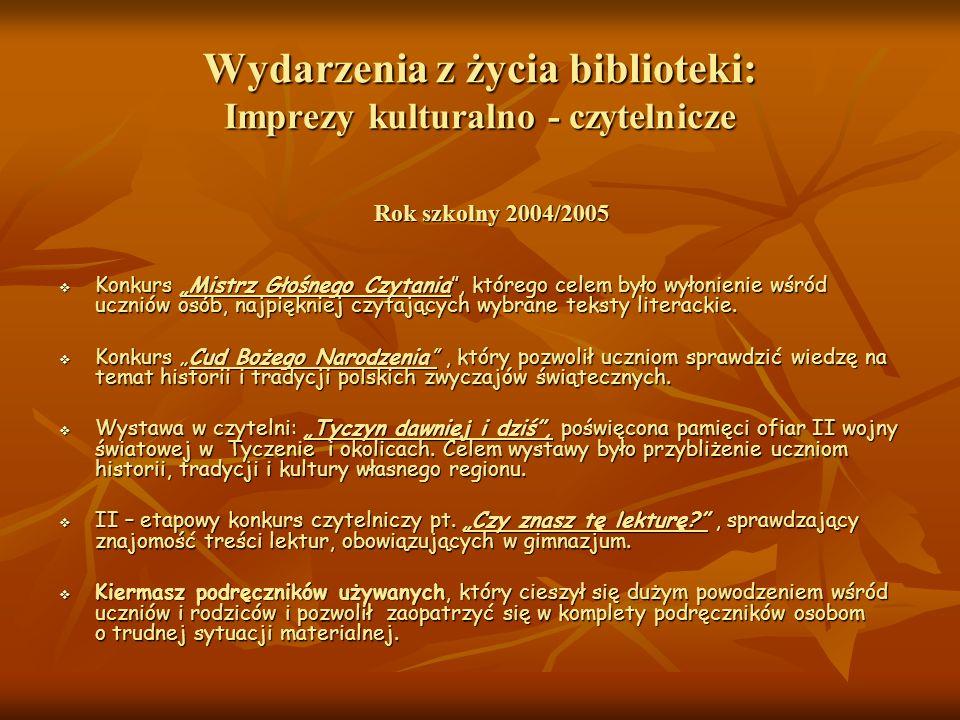 Wydarzenia z życia biblioteki: Imprezy kulturalno - czytelnicze Rok szkolny 2004/2005 Rok szkolny 2004/2005 Konkurs Mistrz Głośnego Czytania, którego