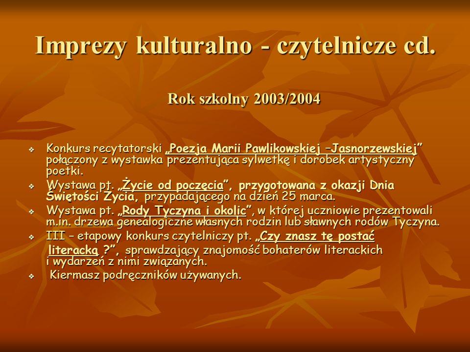Imprezy kulturalno - czytelnicze cd. Rok szkolny 2003/2004 Konkurs recytatorski Poezja Marii Pawlikowskiej –Jasnorzewskiej połączony z wystawka prezen