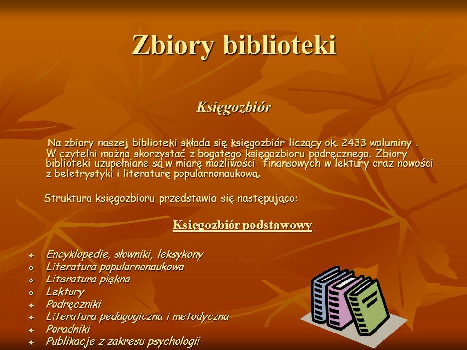 Zbiory biblioteki Księgozbiór Na zbiory naszej biblioteki składa się księgozbiór liczący ok. 2433 woluminy. W czytelni można skorzystać z bogatego ksi