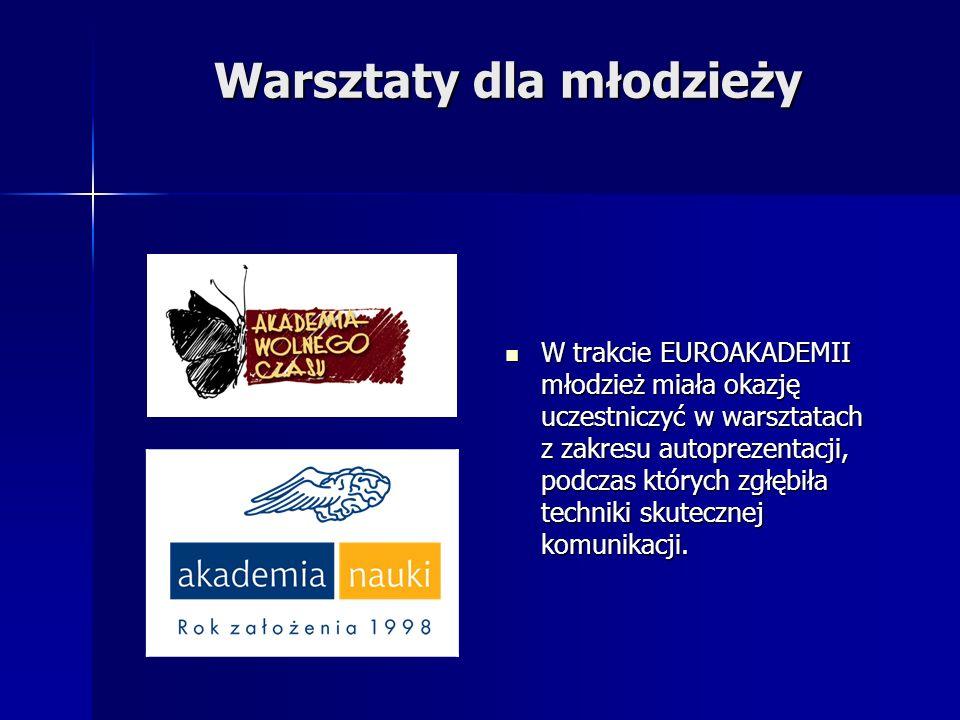 Warsztaty dla młodzieży W trakcie EUROAKADEMII młodzież miała okazję uczestniczyć w warsztatach z zakresu autoprezentacji, podczas których zgłębiła te