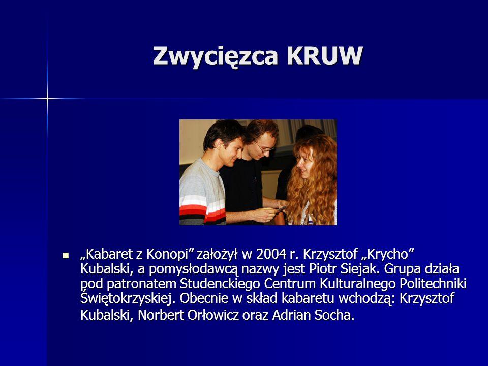 Zwycięzca KRUW Kabaret z Konopi założył w 2004 r. Krzysztof Krycho Kubalski, a pomysłodawcą nazwy jest Piotr Siejak. Grupa działa pod patronatem Stude