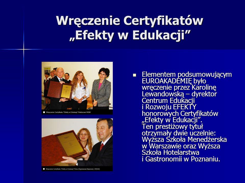 Wręczenie Certyfikatów Efekty w Edukacji Elementem podsumowującym EUROAKADEMIĘ było wręczenie przez Karolinę Lewandowską – dyrektor Centrum Edukacji i