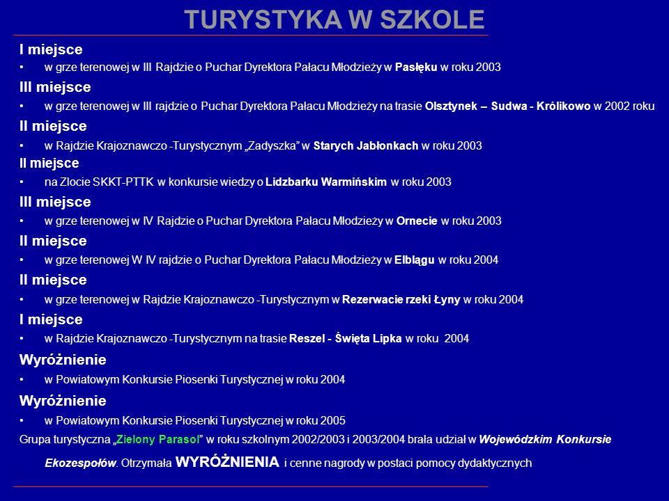 I miejsce w grze terenowej w III Rajdzie o Puchar Dyrektora Pałacu Młodzieży w Pasłęku w roku 2003 III miejsce w grze terenowej w III rajdzie o Puchar
