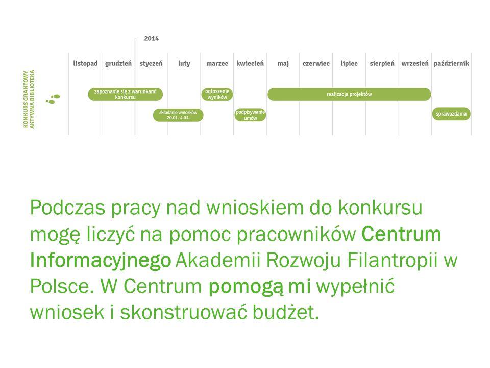 Podczas pracy nad wnioskiem do konkursu mogę liczyć na pomoc pracowników Centrum Informacyjnego Akademii Rozwoju Filantropii w Polsce.