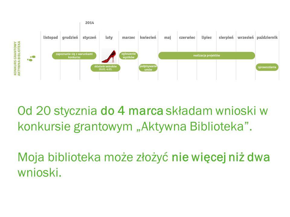 Od 20 stycznia do 4 marca składam wnioski w konkursie grantowym Aktywna Biblioteka.