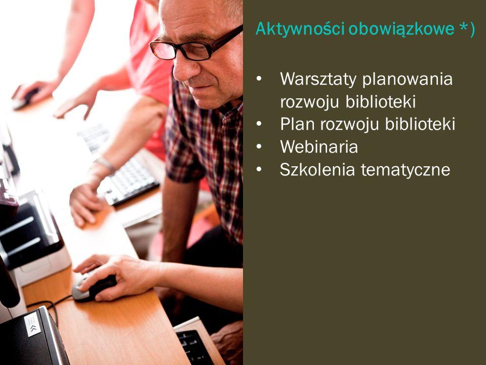 Aktywności obowiązkowe *) Warsztaty planowania rozwoju biblioteki Plan rozwoju biblioteki Webinaria Szkolenia tematyczne