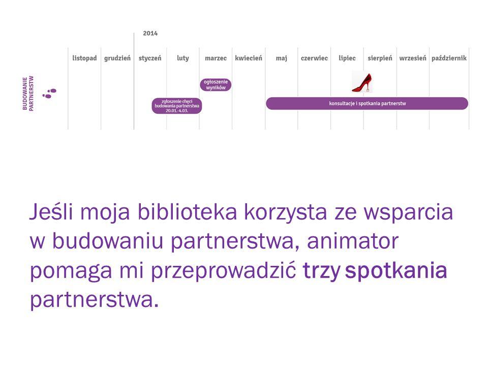 Jeśli moja biblioteka korzysta ze wsparcia w budowaniu partnerstwa, animator pomaga mi przeprowadzić trzy spotkania partnerstwa.
