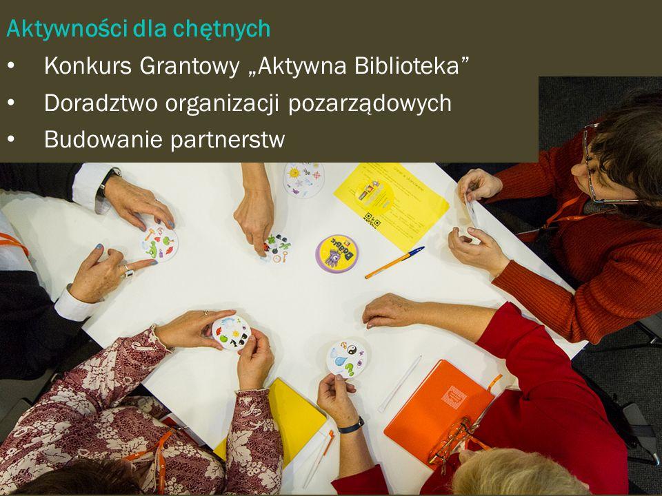 Aktywności dla chętnych Konkurs Grantowy Aktywna Biblioteka Doradztwo organizacji pozarządowych Budowanie partnerstw