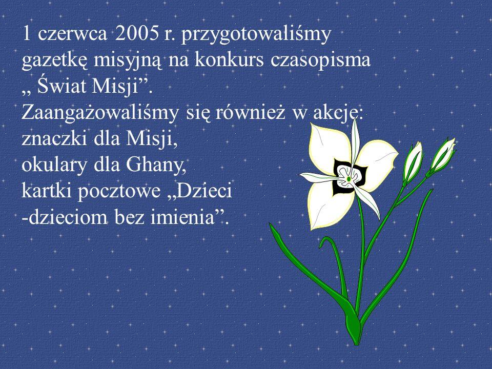 1 czerwca 2005 r. przygotowaliśmy gazetkę misyjną na konkurs czasopisma Świat Misji. Zaangażowaliśmy się również w akcje: znaczki dla Misji, okulary d