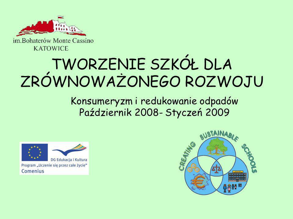 Konsumeryzm i redukowanie odpadów Październik 2008- Styczeń 2009 TWORZENIE SZKÓŁ DLA ZRÓWNOWAŻONEGO ROZWOJU