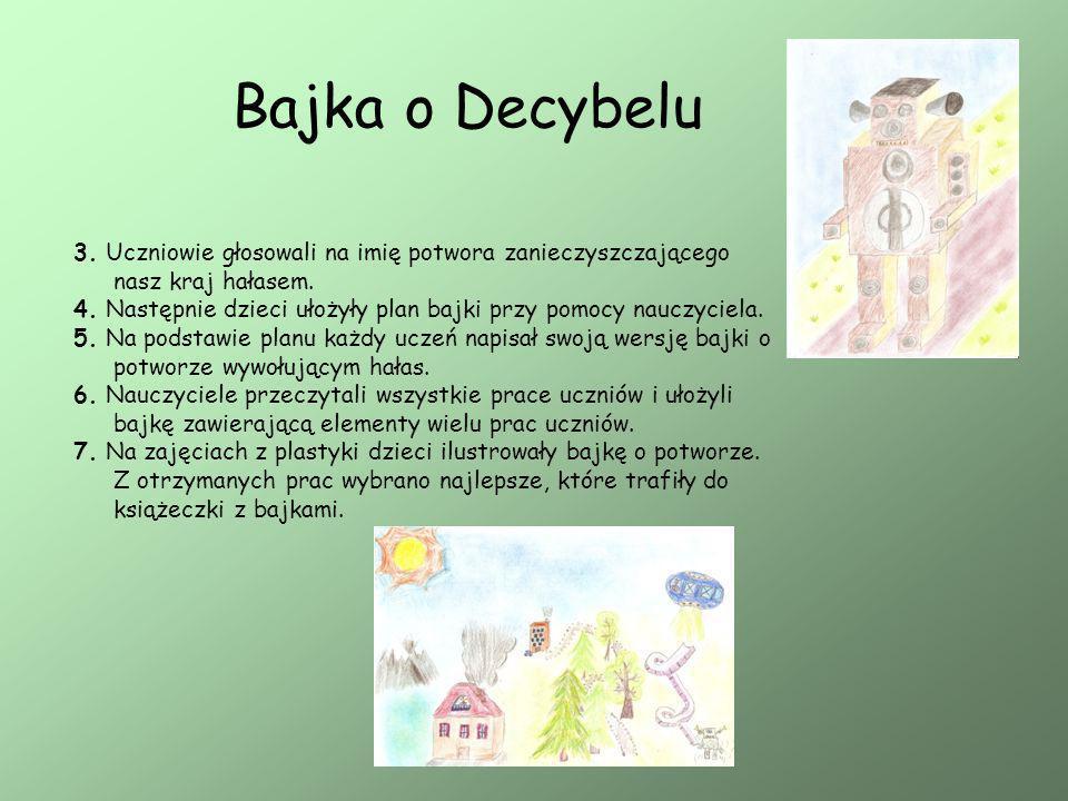 Bajka o Decybelu 3. Uczniowie głosowali na imię potwora zanieczyszczającego nasz kraj hałasem. 4. Następnie dzieci ułożyły plan bajki przy pomocy nauc