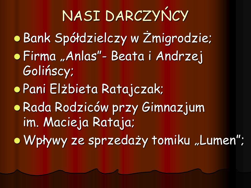 NASI DARCZYŃCY Bank Spółdzielczy w Żmigrodzie; Bank Spółdzielczy w Żmigrodzie; Firma Anlas- Beata i Andrzej Golińscy; Firma Anlas- Beata i Andrzej Gol