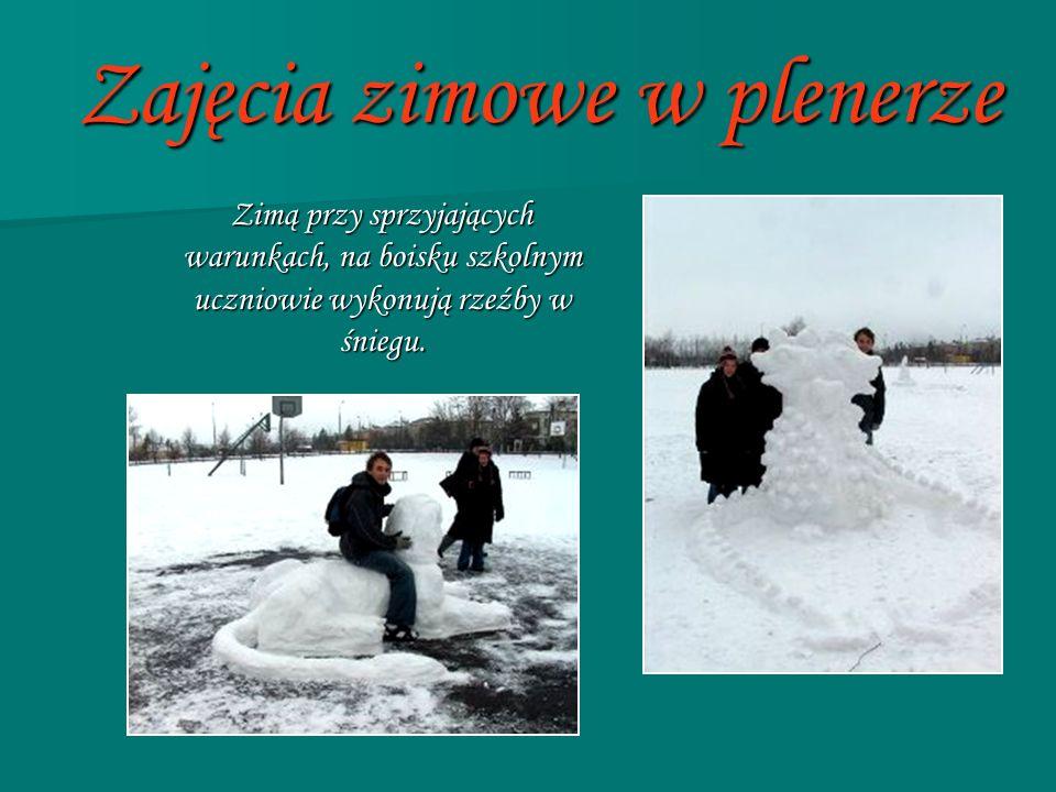 Zajęcia zimowe w plenerze Zimą przy sprzyjających warunkach, na boisku szkolnym uczniowie wykonują rzeźby w śniegu. Zimą przy sprzyjających warunkach,