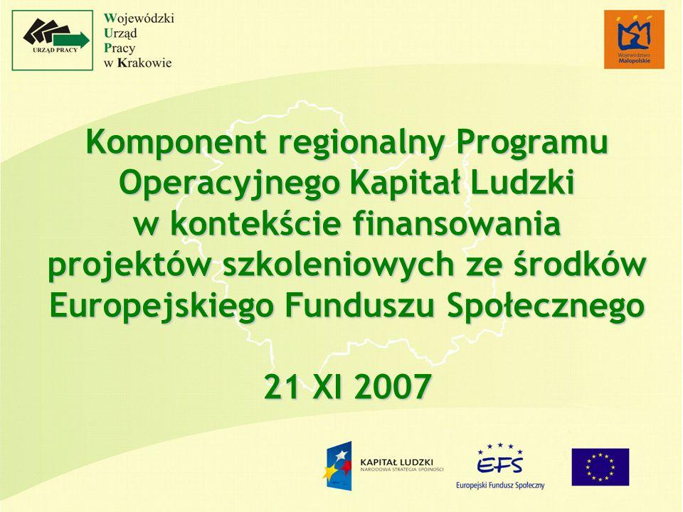 Komponent regionalny Programu Operacyjnego Kapitał Ludzki w kontekście finansowania projektów szkoleniowych ze środków Europejskiego Funduszu Społecznego 21 XI 2007