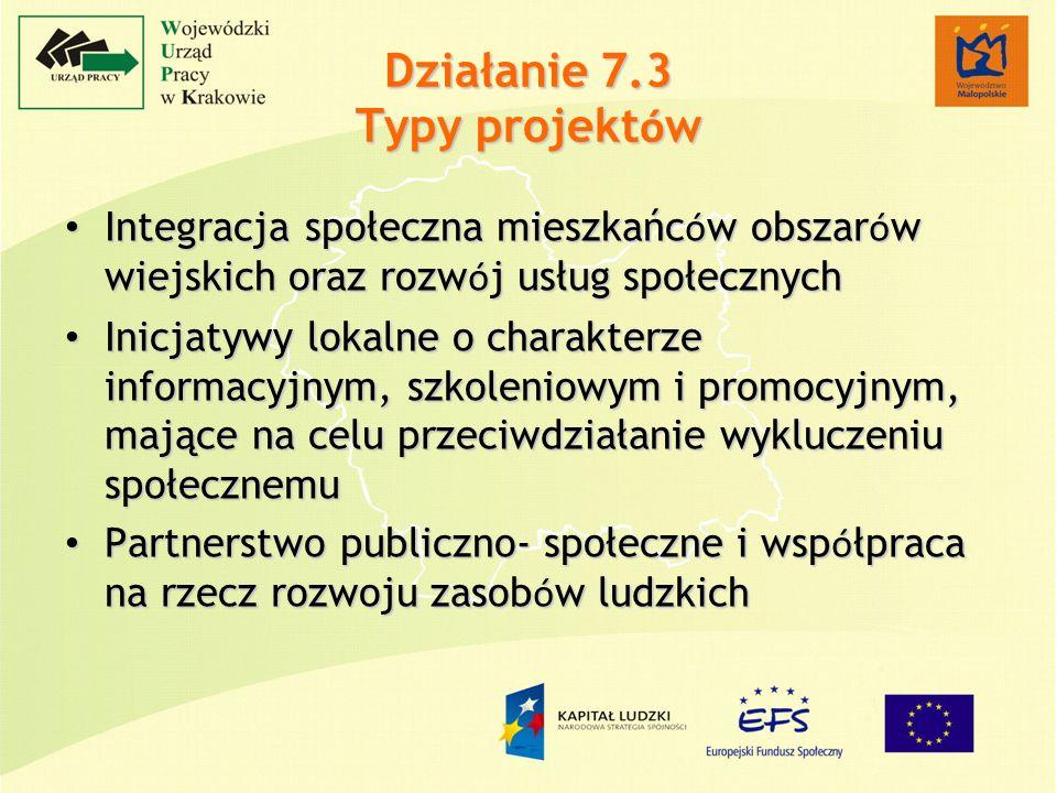 Działanie 7.3 Typy projekt ó w Integracja społeczna mieszkańc ó w obszar ó w wiejskich oraz rozw ó j usług społecznych Integracja społeczna mieszkańc ó w obszar ó w wiejskich oraz rozw ó j usług społecznych Inicjatywy lokalne o charakterze informacyjnym, szkoleniowym i promocyjnym, mające na celu przeciwdziałanie wykluczeniu społecznemu Inicjatywy lokalne o charakterze informacyjnym, szkoleniowym i promocyjnym, mające na celu przeciwdziałanie wykluczeniu społecznemu Partnerstwo publiczno- społeczne i wsp ó łpraca na rzecz rozwoju zasob ó w ludzkich Partnerstwo publiczno- społeczne i wsp ó łpraca na rzecz rozwoju zasob ó w ludzkich