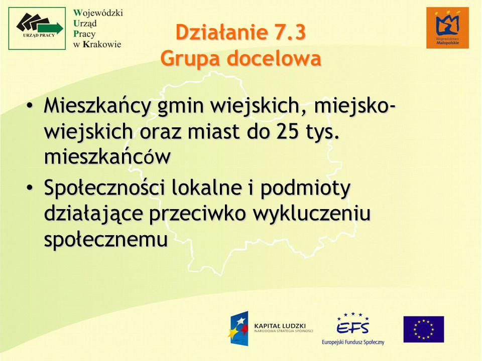 Działanie 7.3 Grupa docelowa Mieszkańcy gmin wiejskich, miejsko- wiejskich oraz miast do 25 tys.