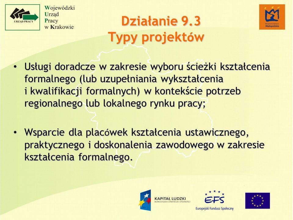 Działanie 9.3 Typy projekt ó w Usługi doradcze w zakresie wyboru ścieżki kształcenia formalnego (lub uzupełniania wykształcenia i kwalifikacji formalnych) w kontekście potrzeb regionalnego lub lokalnego rynku pracy; Usługi doradcze w zakresie wyboru ścieżki kształcenia formalnego (lub uzupełniania wykształcenia i kwalifikacji formalnych) w kontekście potrzeb regionalnego lub lokalnego rynku pracy; Wsparcie dla plac ó wek kształcenia ustawicznego, praktycznego i doskonalenia zawodowego w zakresie kształcenia formalnego.