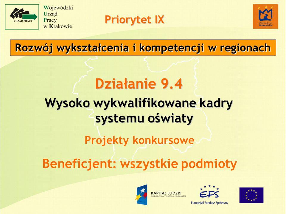 Priorytet IX Rozwój wykształcenia i kompetencji w regionach Działanie 9.4 Wysoko wykwalifikowane kadry systemu oświaty Projekty konkursowe Beneficjent: wszystkie podmioty