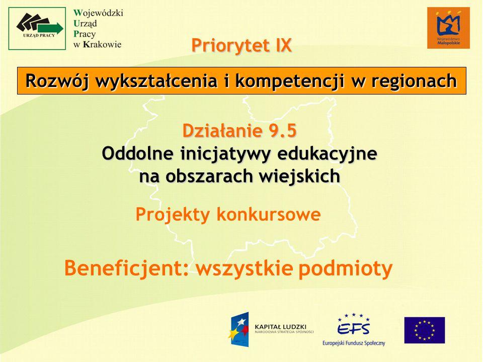 Priorytet IX Rozwój wykształcenia i kompetencji w regionach Działanie 9.5 Oddolne inicjatywy edukacyjne na obszarach wiejskich Projekty konkursowe Beneficjent: wszystkie podmioty