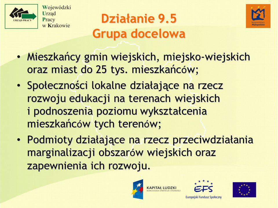 Działanie 9.5 Grupa docelowa Mieszkańcy gmin wiejskich, miejsko-wiejskich oraz miast do 25 tys.