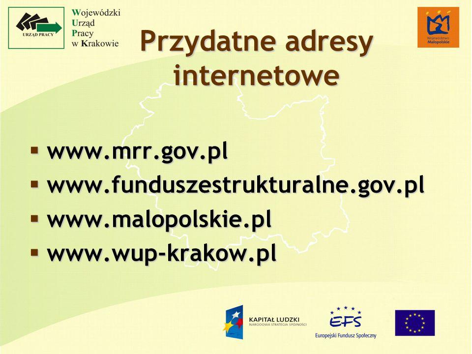 Przydatne adresy internetowe www.mrr.gov.pl www.mrr.gov.pl www.funduszestrukturalne.gov.pl www.funduszestrukturalne.gov.pl www.malopolskie.pl www.malopolskie.pl www.wup-krakow.pl www.wup-krakow.pl