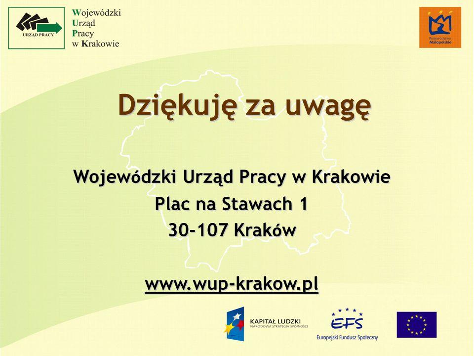 Dziękuję za uwagę Wojew ó dzki Urząd Pracy w Krakowie Plac na Stawach 1 30-107 Krak ó w www.wup-krakow.pl