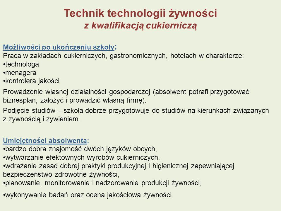 Technik technologii żywności z kwalifikacją cukierniczą Możliwości po ukończeniu szkoły : Praca w zakładach cukierniczych, gastronomicznych, hotelach