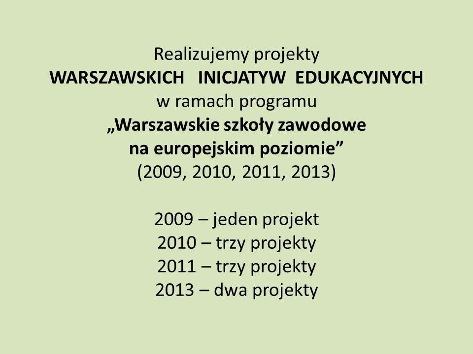 Realizujemy projekty WARSZAWSKICH INICJATYW EDUKACYJNYCH w ramach programu Warszawskie szkoły zawodowe na europejskim poziomie (2009, 2010, 2011, 2013