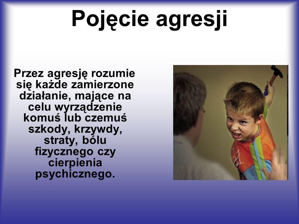 Pojęcie agresji Przez agresję rozumie się każde zamierzone działanie, mające na celu wyrządzenie komuś lub czemuś szkody, krzywdy, straty, bólu fizycz