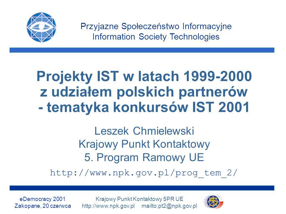 eDemocracy 2001 Zakopane, 20 czerwca 31/31 Krajowy Punkt Kontaktowy 5PR UE http://www.npk.gov.pl mailto:pt2@npk.gov.pl Sieć Punktów Kontaktowych Krajowy, Regionalne, Branżowe i Lokalne Punkty Kontaktowe służą bezpłatną pomocą w zakresie 5PR: http://www.npk.gov.pl Program Tematyczny 2 Sieć KPK Zapraszamy
