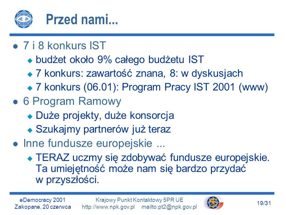 eDemocracy 2001 Zakopane, 20 czerwca 18/31 Krajowy Punkt Kontaktowy 5PR UE http://www.npk.gov.pl mailto:pt2@npk.gov.pl Dwie strategie Uwaga: podobieństwo słowa akumulator do nazwy konkretnego wyrobu konkretnej firmy jest czysto przypadkowy..