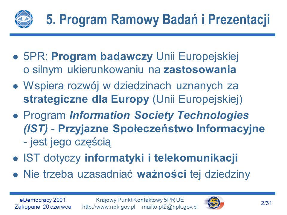 eDemocracy 2001 Zakopane, 20 czerwca 12/31 Krajowy Punkt Kontaktowy 5PR UE http://www.npk.gov.pl mailto:pt2@npk.gov.pl Wnioski z porównań I i II l Instytucje, które miały duże szanse w konkursach, nie wykorzystały ich - mały udział u Duże przedsiębiorstwa (5%: b.