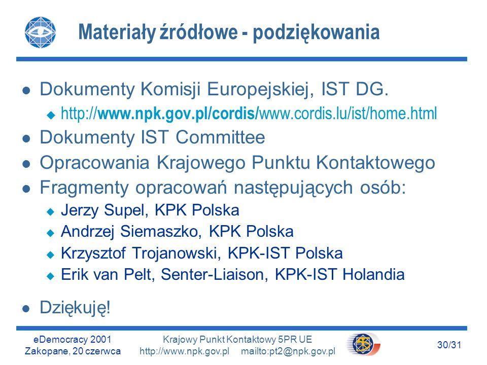 eDemocracy 2001 Zakopane, 20 czerwca 29/31 Krajowy Punkt Kontaktowy 5PR UE http://www.npk.gov.pl mailto:pt2@npk.gov.pl Przypomnijmy: Niektóre korzyści l Dofinansowanie prac badawczych i transferu technologii l Współpraca z najlepszymi: u Potencjalnymi partnerami u Tymi, którzy byli lub mogą stać się konkurencją l Pełny dostęp do praw intelektualnych do produktów projektu, a ułatwiony do wiedzy wniesionej l Ochrona praw autorskich l Certyfikat jakości wydany przez (wymagającą) KE l Darmowa promocja w całej Europie l Czemu duże, bogate firmy uczestniczą