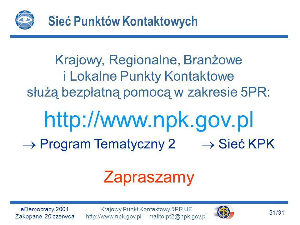 eDemocracy 2001 Zakopane, 20 czerwca 30/31 Krajowy Punkt Kontaktowy 5PR UE http://www.npk.gov.pl mailto:pt2@npk.gov.pl Materiały źródłowe - podziękowania l Dokumenty Komisji Europejskiej, IST DG.