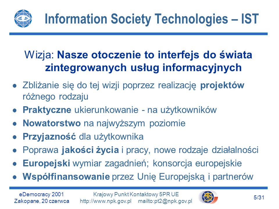 eDemocracy 2001 Zakopane, 20 czerwca 25/31 Krajowy Punkt Kontaktowy 5PR UE http://www.npk.gov.pl mailto:pt2@npk.gov.pl KA V : Cross-programme Actions KA V : l V.1.2CPA2: Multimodal and multisensorial dialogue modes l V.1.3CPA3: Use of Geographic Information l V.1.6CPA6: Next generation networks l V.1.10CPA10: Next generation micro- and nano- technologies for highly integrated...