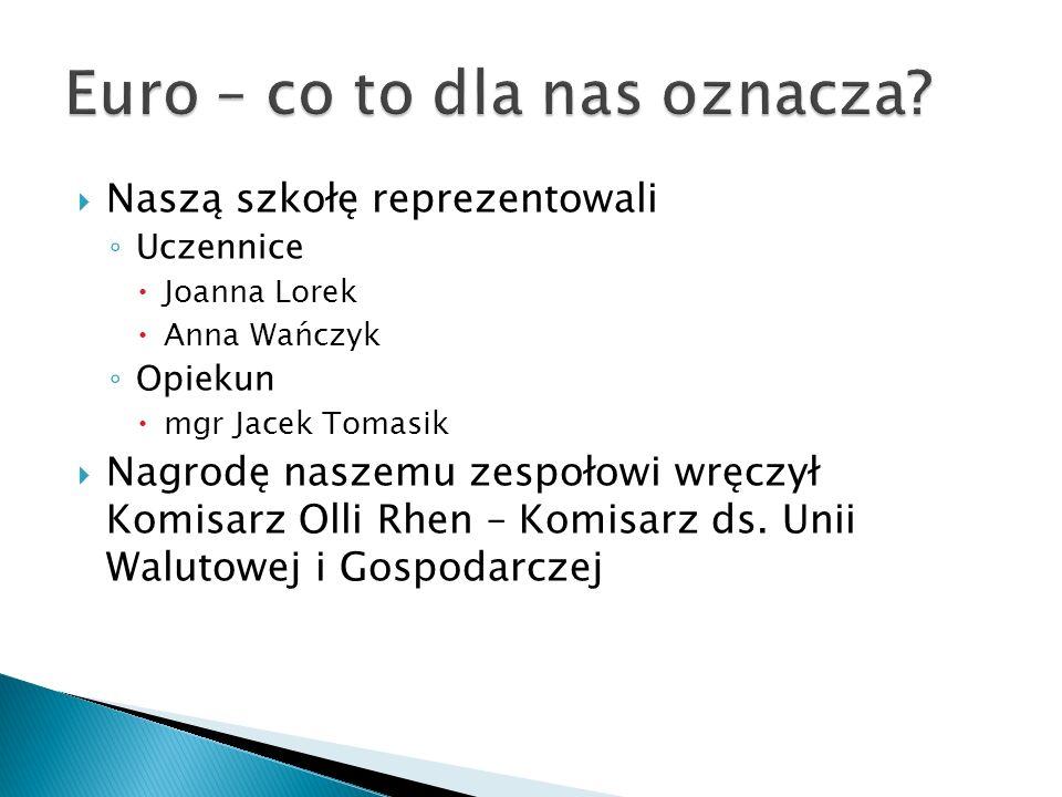 Naszą szkołę reprezentowali Uczennice Joanna Lorek Anna Wańczyk Opiekun mgr Jacek Tomasik Nagrodę naszemu zespołowi wręczył Komisarz Olli Rhen – Komisarz ds.