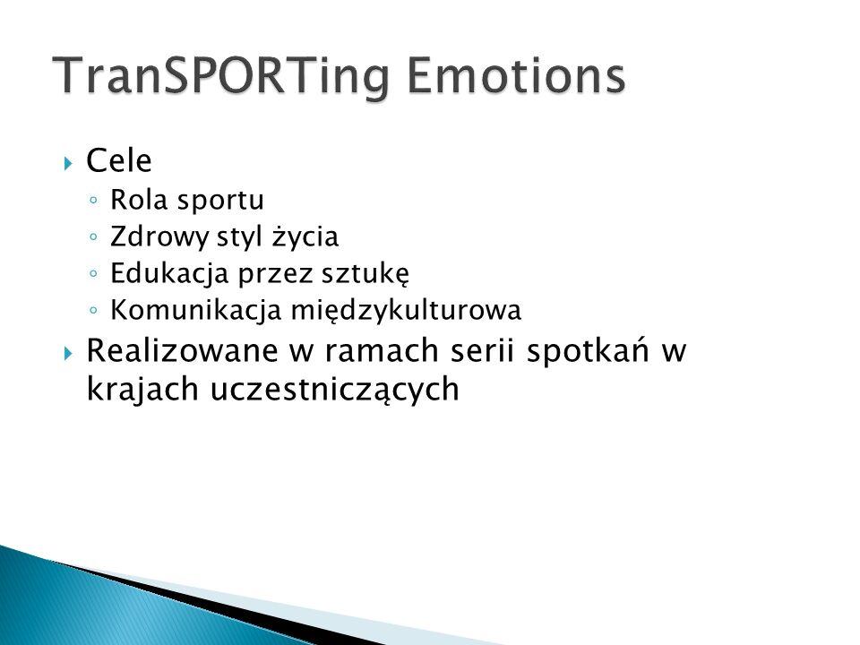 Cele Rola sportu Zdrowy styl życia Edukacja przez sztukę Komunikacja międzykulturowa Realizowane w ramach serii spotkań w krajach uczestniczących
