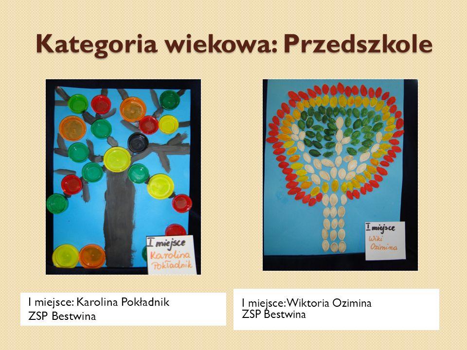 Kategoria wiekowa: Przedszkole I miejsce: Karolina Pokładnik ZSP Bestwina I miejsce: Wiktoria Ozimina ZSP Bestwina