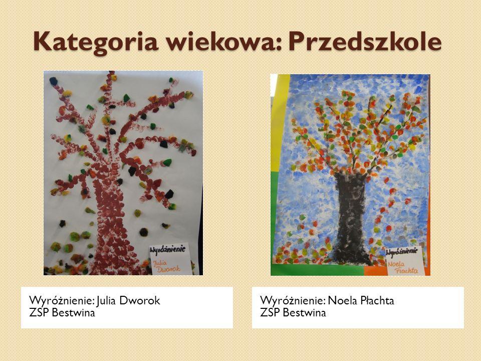 Kategoria wiekowa: Przedszkole Wyróżnienie: Julia Dworok ZSP Bestwina Wyróżnienie: Noela Płachta ZSP Bestwina
