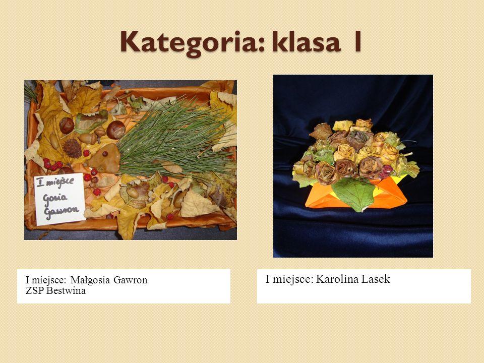 Kategoria: klasa 1 I miejsce: Małgosia Gawron ZSP Bestwina I miejsce: Karolina Lasek