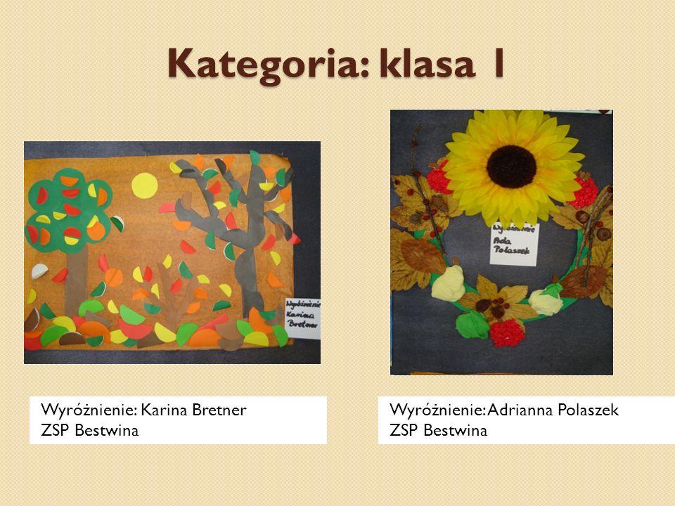 Kategoria: klasa 1 Wyróżnienie: Karina Bretner ZSP Bestwina Wyróżnienie: Adrianna Polaszek ZSP Bestwina