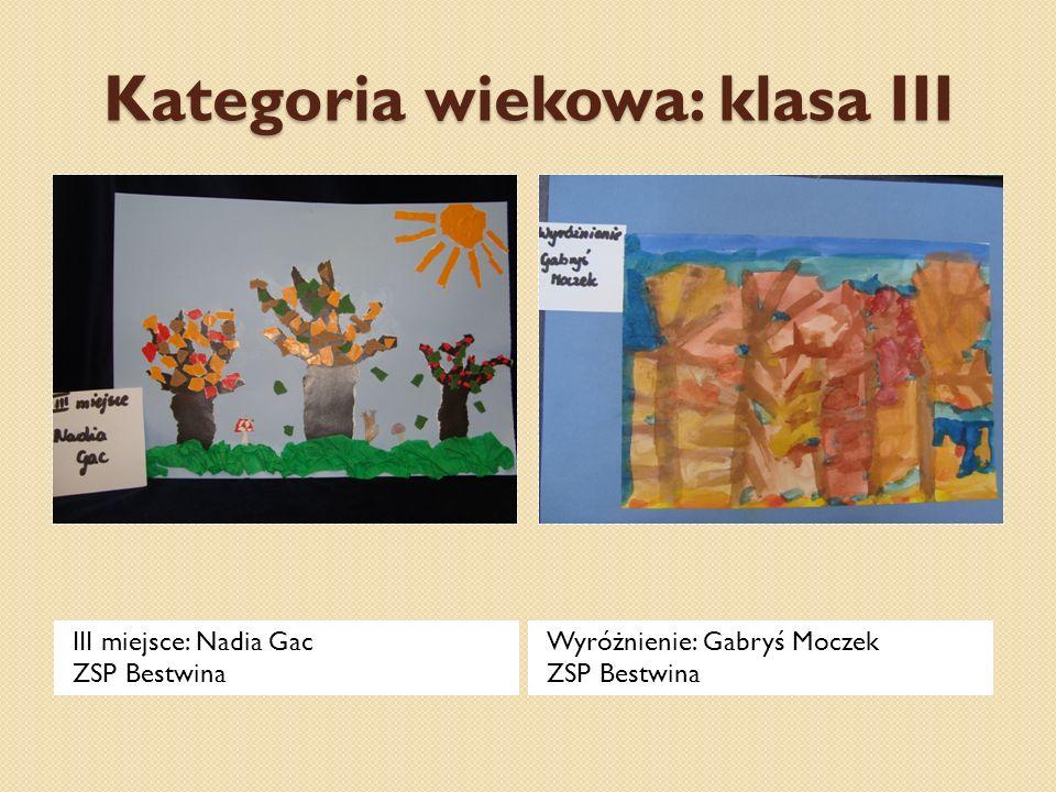 Kategoria wiekowa: klasa III III miejsce: Nadia Gac ZSP Bestwina Wyróżnienie: Gabryś Moczek ZSP Bestwina