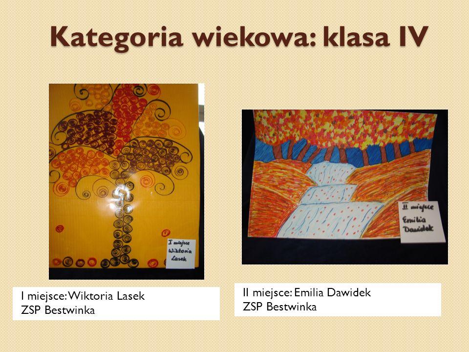 Kategoria wiekowa: klasa IV I miejsce: Wiktoria Lasek ZSP Bestwinka II miejsce: Emilia Dawidek ZSP Bestwinka