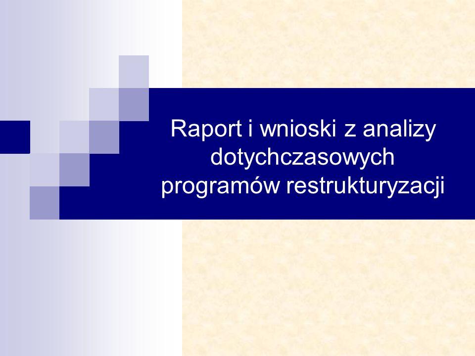 Raport i wnioski z analizy dotychczasowych programów restrukturyzacji