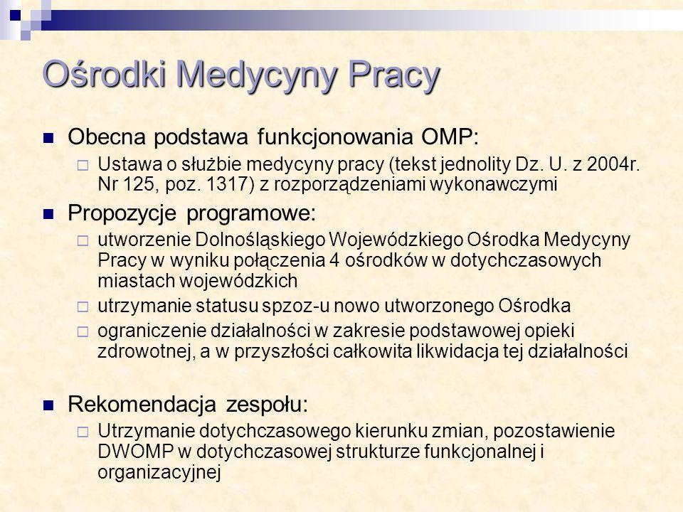 Ośrodki Medycyny Pracy Obecna podstawa funkcjonowania OMP: Ustawa o służbie medycyny pracy (tekst jednolity Dz. U. z 2004r. Nr 125, poz. 1317) z rozpo