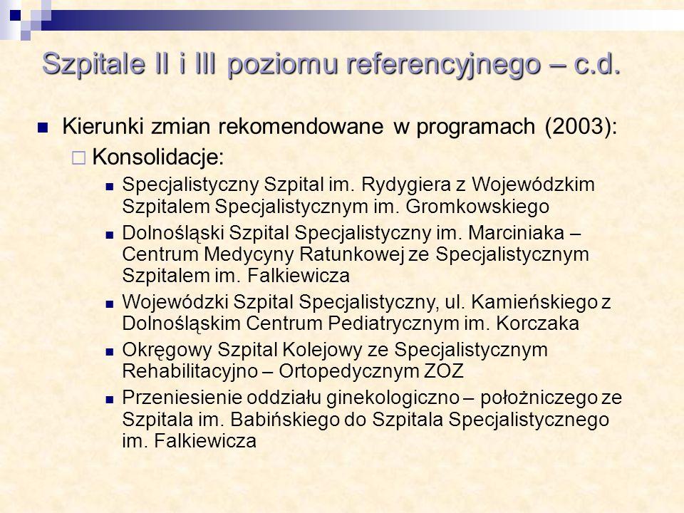 Szpitale II i III poziomu referencyjnego – c.d. Kierunki zmian rekomendowane w programach (2003): Konsolidacje: Specjalistyczny Szpital im. Rydygiera