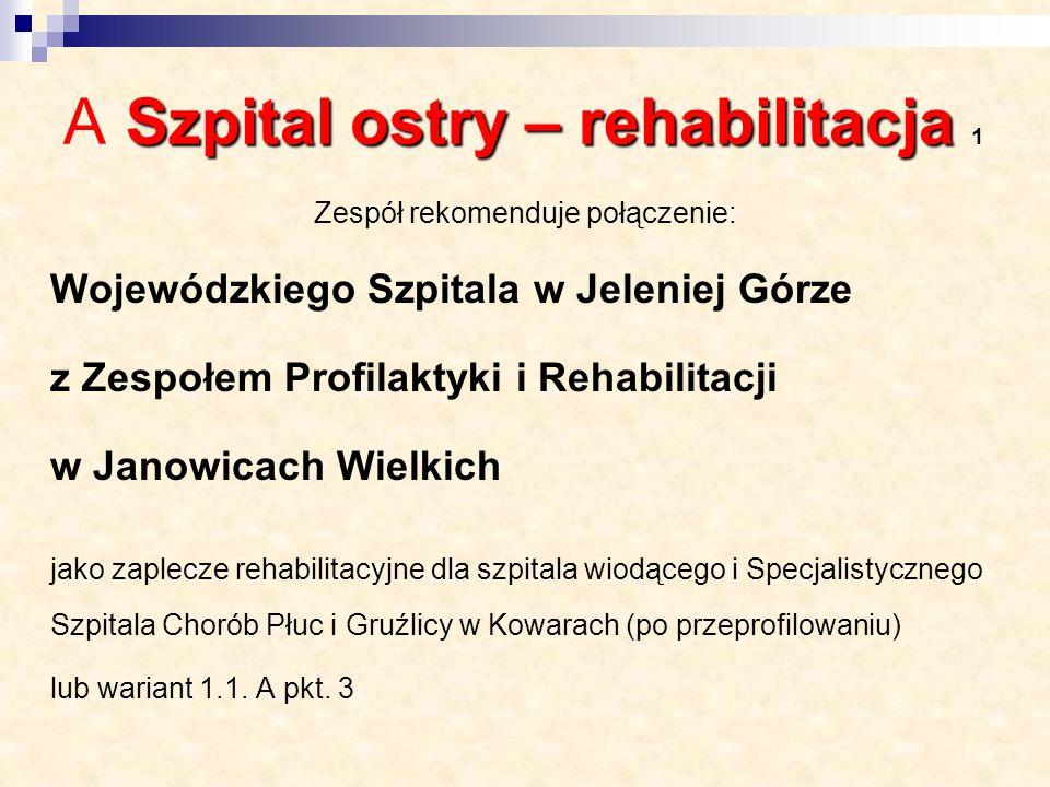 Szpital ostry – rehabilitacja A Szpital ostry – rehabilitacja 2 Zespół rekomenduje połączenie: Okręgowego Szpitala Kolejowego ze Specjalistycznym Rehabilitacyjno- Ortopedycznym ZOZ we Wrocławiu, który będzie stanowić zaplecze dla oddziałów zabiegowych