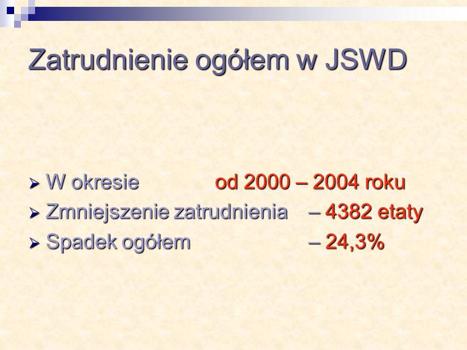 W okresie od 2000 – 2004 roku W okresie od 2000 – 2004 roku Zmniejszenie zatrudnienia – 4382 etaty Zmniejszenie zatrudnienia – 4382 etaty Spadek ogółem – 24,3% Spadek ogółem – 24,3%