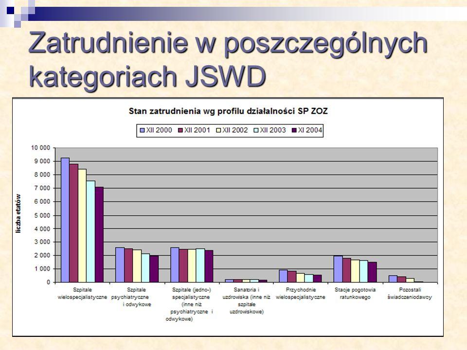 Zatrudnienie w poszczególnych kategoriach JSWD
